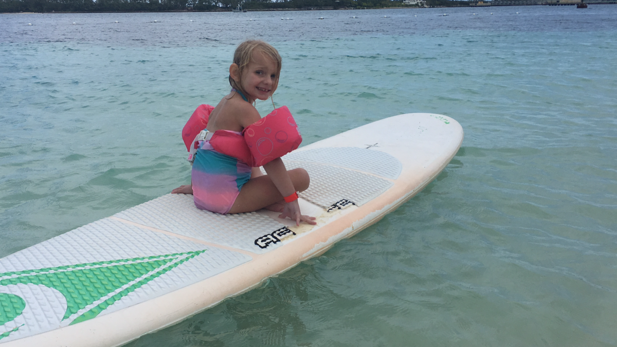 Gloria paddle boarding